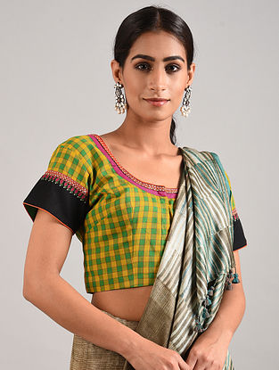 Green-Yellow Hand Embroidered Cotton Blouse