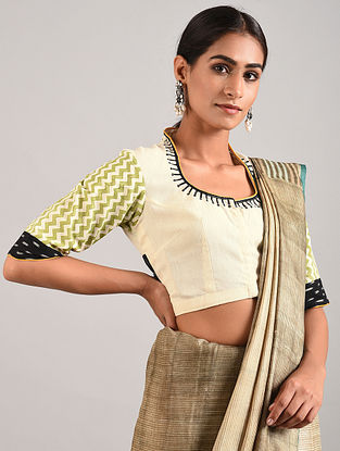Ivory-Green Hand Embroidered Ikat Cotton Blouse