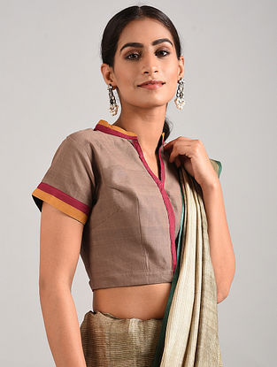 Taupe Hand Embroidered Cotton Blouse