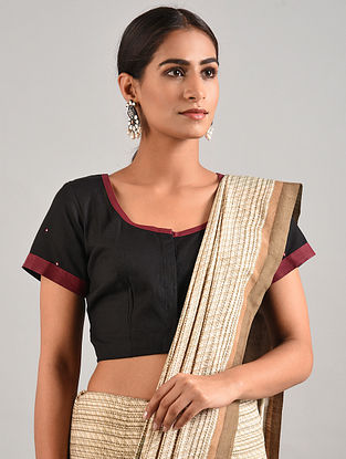 Black-Maroon Hand Embroidered Cotton Blouse