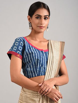 Blue-Ivory Block printed Cotton Blouse with Hand Embroidery