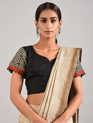 Black-Brown Hand Embroidered Block Printed Linen Cotton Blouse
