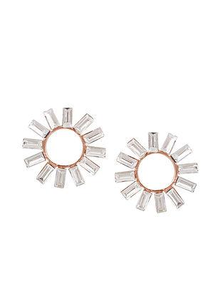 White Gold Tone Stud Earrings