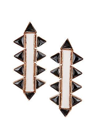 Black-White Gold Tone Enameled Stud Earrings