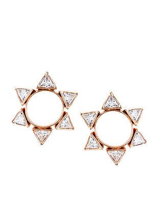 White Gold Tone Enameled Stud Earrings