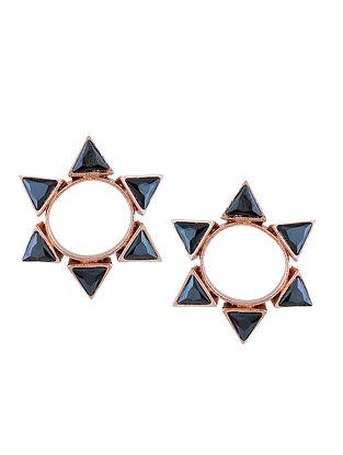 Blue Gold Tone Enameled Stud Earrings