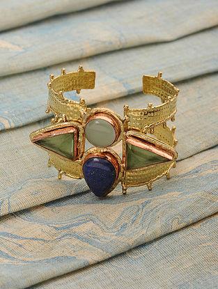 Gold Tone Cuff with Lapis Lazuli and Peridot