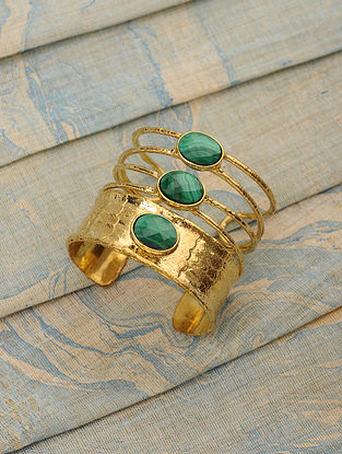Gold Tone Cuff with Malachite