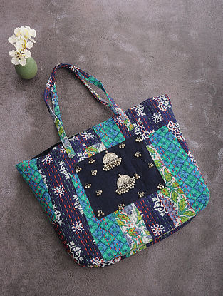 Multicolored Kantha-Embroidered Cotton Tote with Metal Embellishments