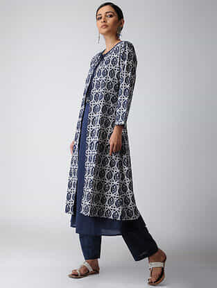 Indigo Dyed Cotton Cape with Inner (Set of 2)
