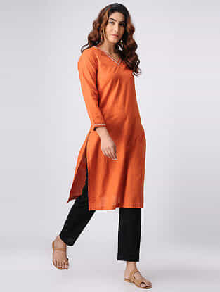 Orange Hand-embroidered Cotton Slub Kurta