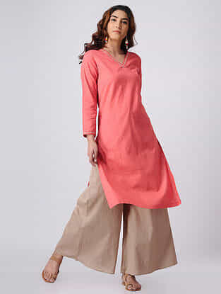 Pink Hand-embroidered Cotton Slub Kurta