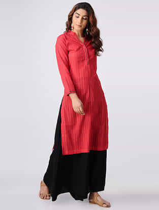 Red Hand-embroidered Cotton Slub Kurta