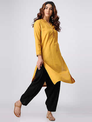 Mustard Hand-embroidered Cotton Slub Kurta