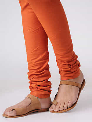 Orange Elasticated Waist Cotton Slub Churidar