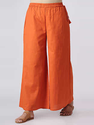 Orange Elasticated Waist Cotton Slub Palazzos