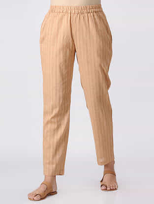 Brown Elasticated Waist Cotton Slub Pants
