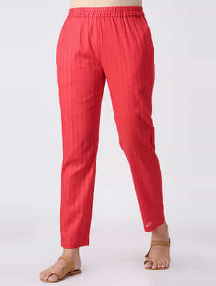 Red Elasticated Waist Cotton Slub Pants