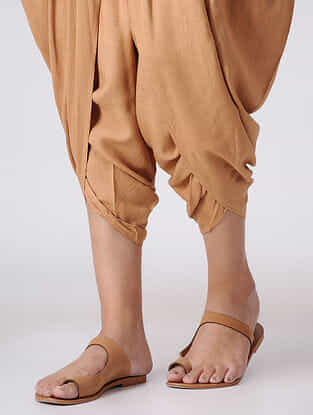 Brown Elasticated Waist Cotton Dhoti Pants