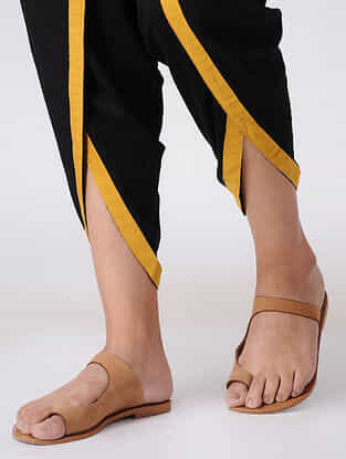 Black Elasticated Waist Cotton Dhoti Pants