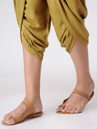 Olive Elasticated Waist Cotton Dhoti Pants