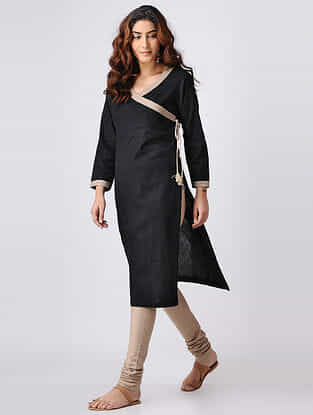 Black Cotton Slub Angrakha Kurta