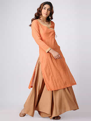Orange Cotton Slub Angrakha Kurta