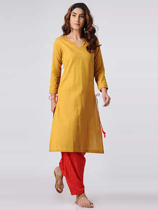 Mustard Cotton Slub Kurta with Tassels
