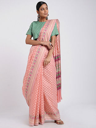 Peach-Green Benarasi Silk Cotton Saree