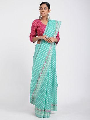 Turquoise-Purple Benarasi Silk Cotton Saree