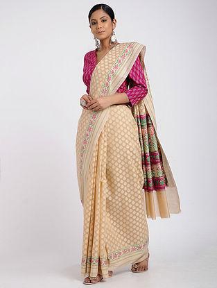 Beige Benarasi Silk Cotton Saree