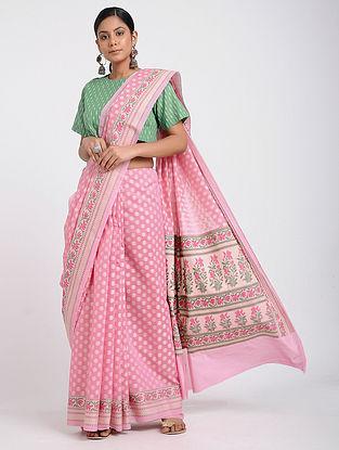 Pink Benarasi Silk Cotton Saree