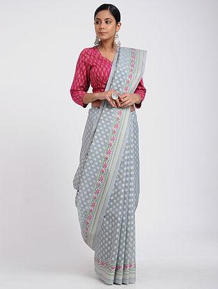 Grey Benarasi Silk Cotton Saree