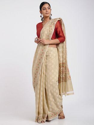 Beige-Orange Benarasi Silk Cotton Saree