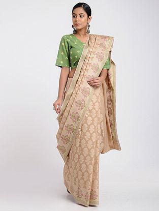 Beige-Pink Benarasi Silk Cotton Saree