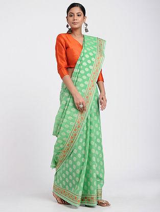 Green-Red Benarasi Silk Cotton Saree