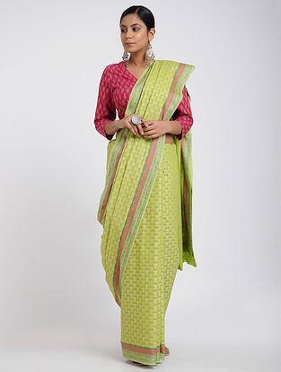 Green-Pink Benarasi Silk Cotton Saree