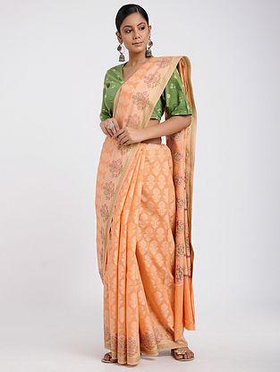 Orange-Peach Benarasi Silk Cotton Saree