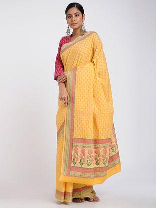 Yellow-Pink Benarasi Silk Cotton Saree