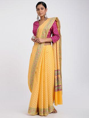 Yellow Benarasi Silk Cotton Saree