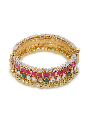 Pink Green Gold Tone Pearl Beaded Brass Bangle (Bangle Size: 2/6)