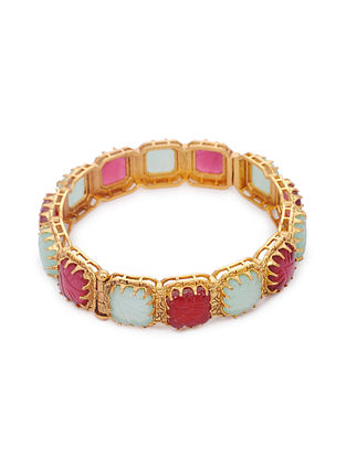Pink Blue Gold Tone Brass Bangle (Bangle Size: 2/2)