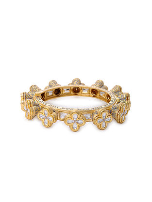 Grey Gold Tone Kundan Enameled Bangle
