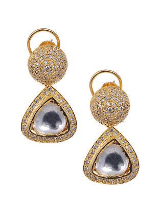 Gold Tone Brass Polki Earrings
