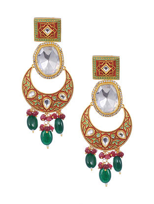 Multicolored Gold Tone Meenakari and Polki Brass Earrings