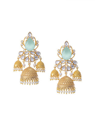Gold Tone Kundan Earrings with Pearls and Chalcedony