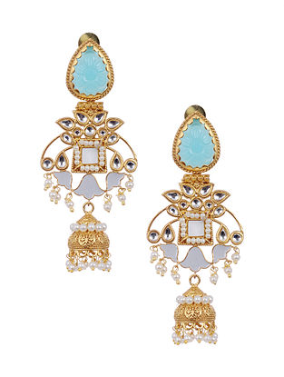 Blue White Enameled Gold Tone Brass Earrings with Pearls