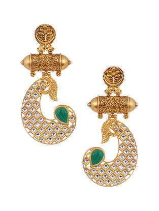 Green Gold Tone Kundan Brass Earrings