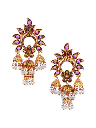 Maroon Gold Tone Brass Jhumki Earrings