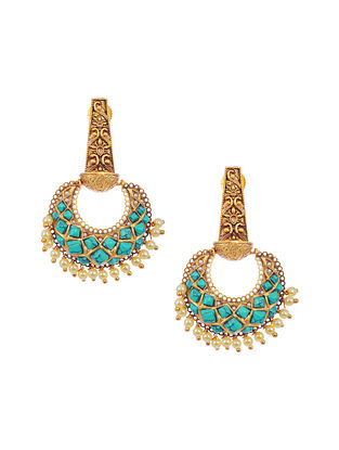 Turquoise Gold Tone Brass Earrings with Pearls
